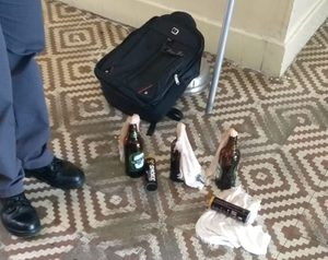 Bottles that appear to be Molotov cocktails left inside the school where the massacre took place