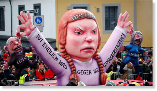 A carnival float celebrating Thunberg
