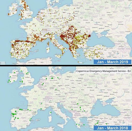 Europe wildfires map 2018 2019