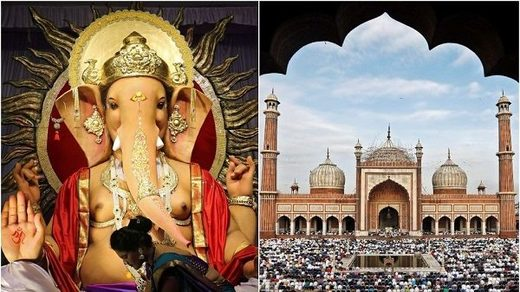 idol of Hindu elephant god Ganesh (L) and the Jama Masjid (Grand Mosque) in the old quarters of Delhi.