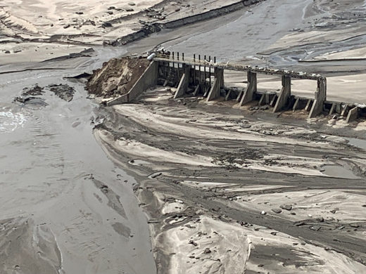 An aerial view of Spencer Dam after a storm triggered historic flooding, near Bristow, Nebraska, on March 16, 2019