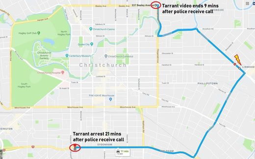 Karte Christchurch Schießen