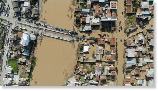 An aerial view of the flood-hit city of Aq-Qala in Golestan Province