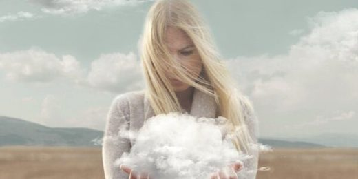 blonde woman holding cloud