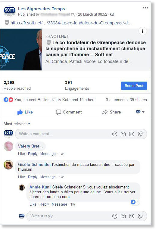 Facebook censorship Les decodeurs du monde global warming Patrick Moore