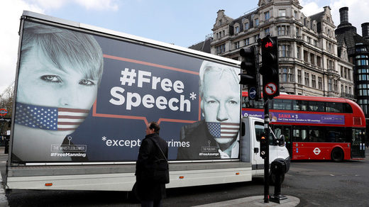 assange manning free speech truck