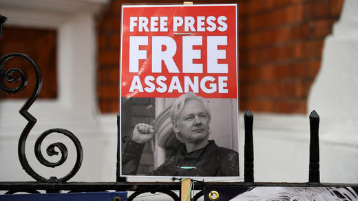 assange protest sign free press