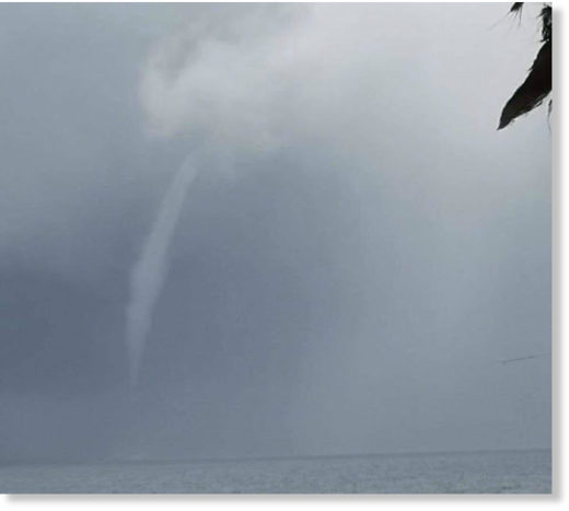 Tugela Boshoff from Middelburg, currently on holiday in Umhlanga, captured these photos of the waterspout on Tuesday.