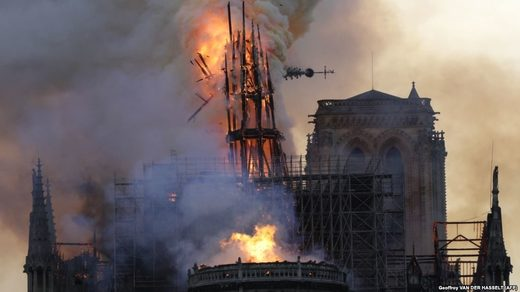 Notre dame spire collapse