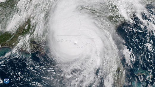 Hurricane Michael is seen over the Florida Panhandle