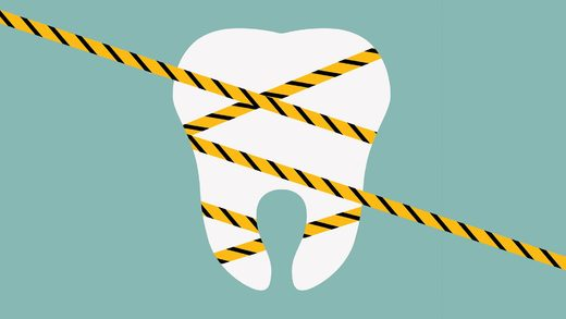 tooth caution tape dentistry