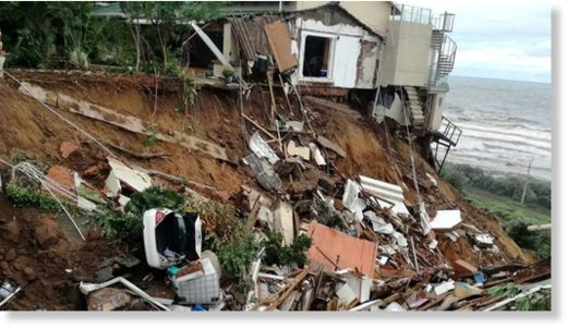 The rains have led to landslides destroying property and roads