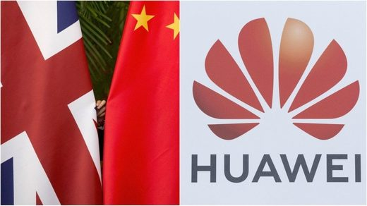 File Photo: UK and Chinese flags (L) and Huawei logo (R)