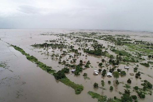 Pounding rain from Cyclone Idai turned the region around the city of Beira in central Mozambique into an inland sea