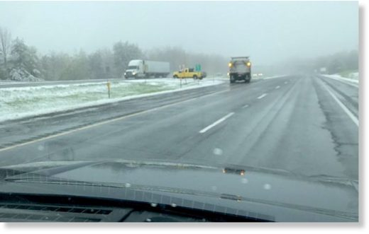 Snow plows were out Sunday afternoon on I-90 in the Berkshires, where a trained weather spotter reported that roads were slick with a temperature hovering around 34 degrees Fahrenheit.