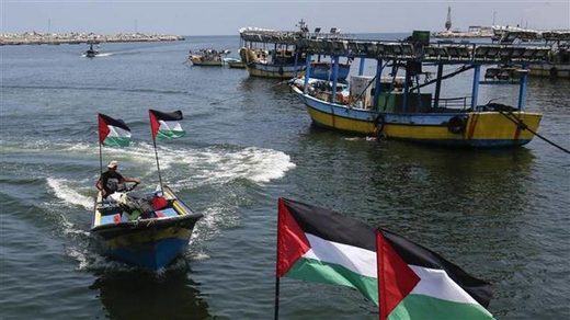 gaza boats palestinian flags