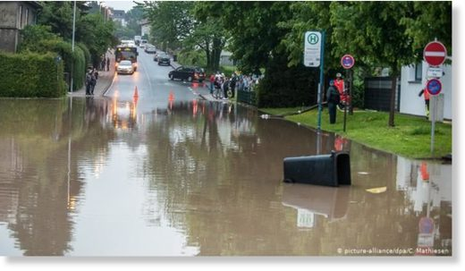 A flooded road in Bielefeld, northeast of Dortmund
