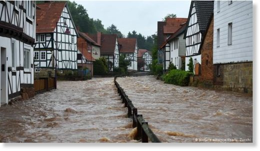 The river Losse burst its banks in Hesse