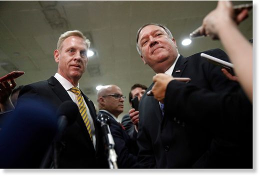 Acting Defense Secretary Patrick Shanahan, left, and Secretary of State Mike Pompeo