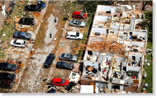 This aerial image shows severe storm damage in Jefferson City, Mo., Thursday, May 23, 2019, after a tornado hit overnight.