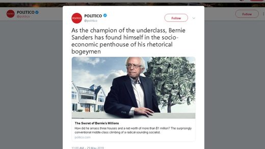Bernie Sanders anti-semitic money tree Politico tweet