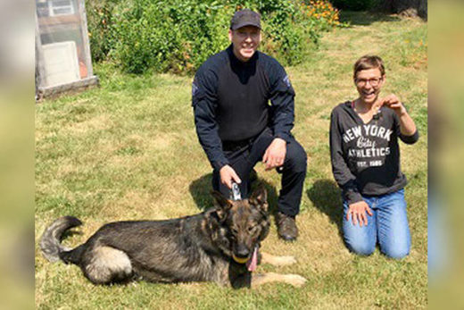 Police dog finds lost keys