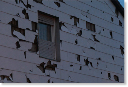 A house damaged by the hailstones in Germering, on the outskirts of Munich.