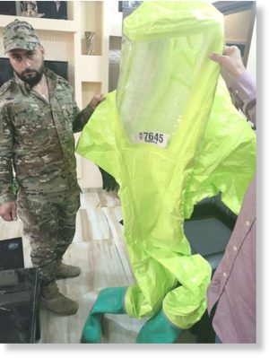 U.K. Fire Service-supplied Hazmat suit found in the White Helmet center