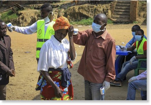symptoms of Ebola, at the border crossing near Kasindi