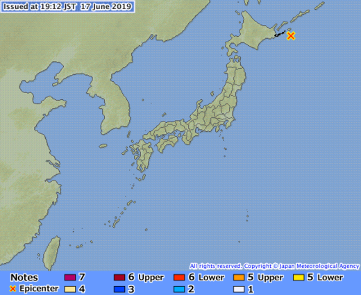 earthquake japan honshu june 17 2019