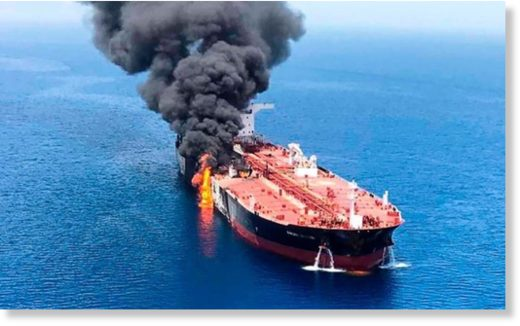 An oil tanker is on fire in the sea of Oman