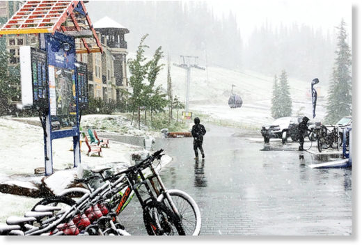 SilverStar Mountain Resort gets a white surprise June 20, the day before biking season gets into gear.