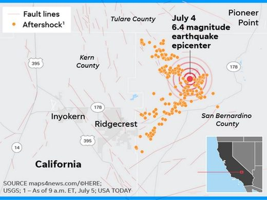 aftershock ridgecrest CA earthquake map