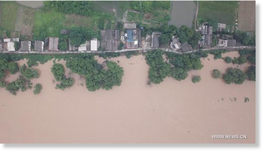 Aerial photo taken on July 9, 2019 shows the flooded Xingmazhou in Binzhou New Village of Changsha, central China's Hunan Province.