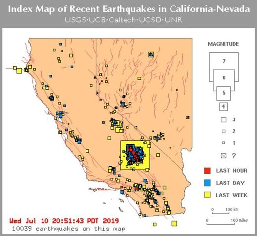 California earthquakes map