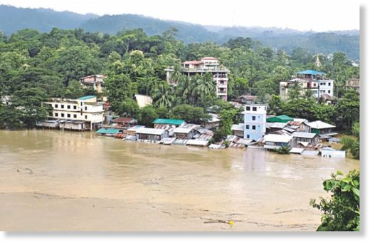 The Sangu bursts its banks and inundates homes and business in Bandarban town.