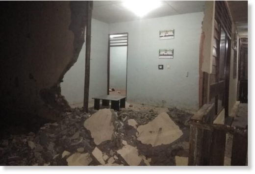 The damaged office of West Gane police precinct in Saketa, in Indonesia's North Maluku province, after an earthquake struck the area on July 14, 2019