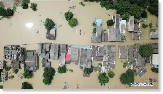 Aerial photo taken on July 10, 2019 shows a part of flooded Xiangtan city in Central China's Hunan province