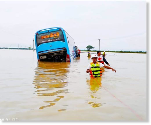 Floods in Rakhine state, Myanmar, July 2019.