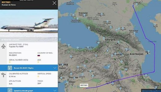 Russian IL-76 strategic airlifter and Tu-154M