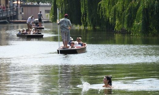 People enjoying the River Cam in Cambridge last Thursday, now the hottest UK day on record