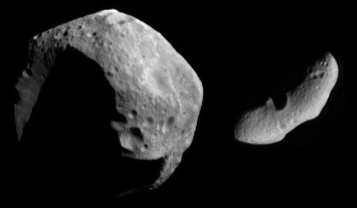 Image of two different asteroids captured by NASA