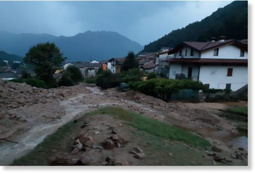 Floods and landslides in Casargo, Lombardy Italy, 06 August 2019.