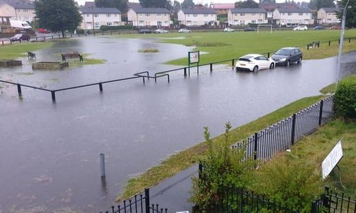 Localised flooding in Wrexham, UK.