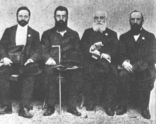 Max Bodenheimer, Theodor Herzl, Max Nordau and David Wolffsohn zionists