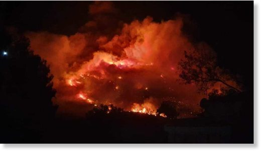 Fire in Ymittos, Athens, Greece last night, August 11/12
