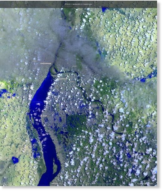 Image of flooded areas (blue) of the White Nile in Sudan, 11 August 2019. Image is from the Sentinel-2 satellite from the EU Copernicus Programme