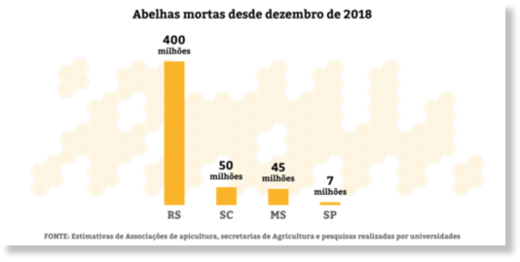 The chart shows how many bees were found dead in four Brazilian states in just three months – 400 million in Rio Grande do Sul, 7 million in São Paulo, 50 million in Santa Catarina and 45 million Mato Grosso do Sul.
