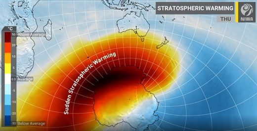 Rare 'sudden stratospheric warming' event could bring icy weather to New Zealand