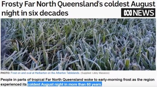 Record cold in Cairns, Australia